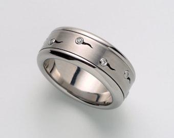Mens Engagement Ring, Sperms Diamonds Ring, Harley Davidson Ring for Men, Stainless Steel Diamond Ring, Harley Davidson Spinner Ring 5-12.75