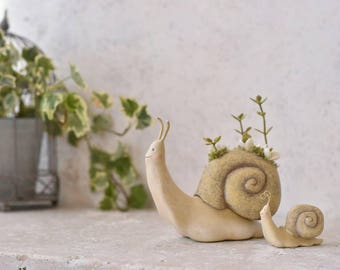 Snail Planter Ornament and Small Snail Japanese Handmade Art DenDen