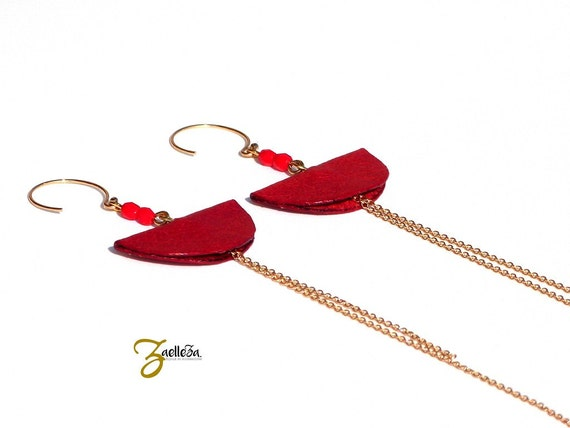 "Earrings 14K gold and red leather - graphic and Chic - model CANCUN ""Mexico Collection"""
