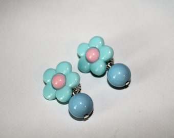 Baby Blue Flower Clip on Earrings