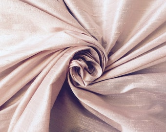 "Blush pink bridal 100% dupioni silk fabric yardage By the Yard 55"" wide wedding"