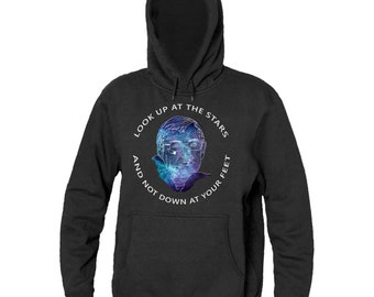 Look Up At The Stars And Not Down At Your Feet Stephen Hawking Tribute Men's Hooded Sweatshirt