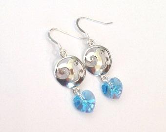 Ocean Wave Sterling Silver and Swarovski Crystal Earrings, Aqua Heart Crystals