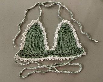 Dirty Money Crochet Cotton Bikini Top