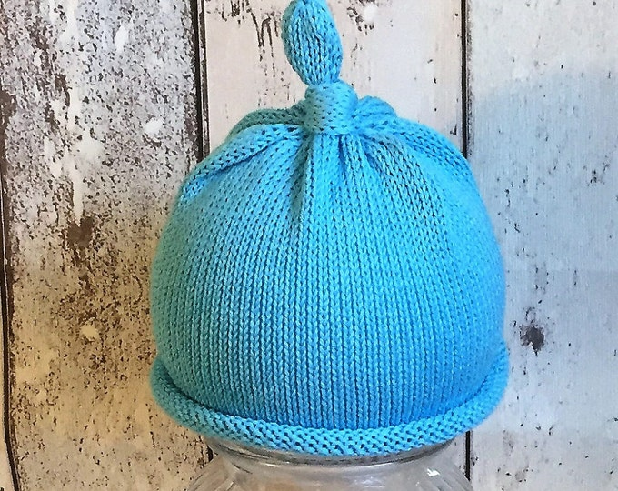 KNIT ,baby child toddler, knitted beanie hat tie,not top knit beanie hospital hat coming home hat cotton  photo prop baby shower gift  blue