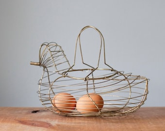 Charming Vintage Wire Hen Basket | Farmhouse Decor Chicken Egg Holder