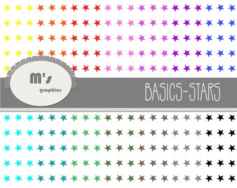 14 Digital Papers: Backgrounds STARS. Polka Stars Rainbow, White background. Scrapbook Decoupage Printable