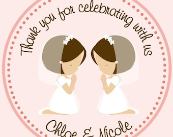 First Communion Favor Tags for twins ( Set of 12) / Twins First Communion / Cousins First Communion / Twin Girls Communion
