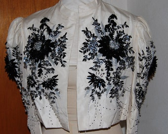 1940's 1950's Beaded white silk special occasion jacket.