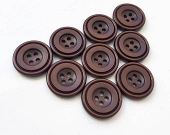 chocolate brown simple sleek deep dish center new stock buttons--matching lot of 9