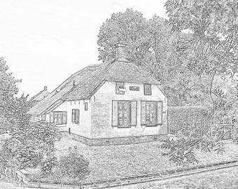 Downloadable Printable Adult Coloring page Venice of the North Giethoorn, scenic coloring page