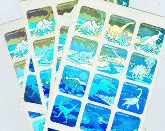 50 Sheets Holographic Dinosaur Stickers