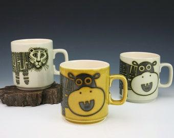 Hornsea Newsprint Mugs - John Clappison Newsprint Mugs - Vintage 1970s Hornsea England Coffee Mugs - Hippopotamus Hippo Lion Lioness Tiger