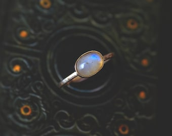 Sterling silver and oval rainbow moonstone minimalist ring