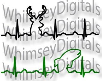 Deer Heartbeat, Fish Heart beat, EKG, Digital Download SVG Cut File, Vinyl Cutting Design for Cricut Design Space, Silhouette Studio, Cameo