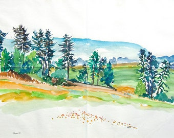 Landscape with trees. On Velin D'arches rough grain paper