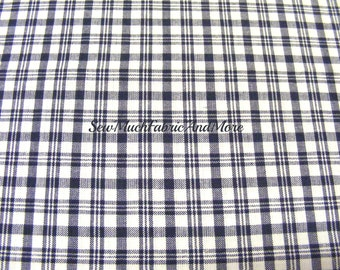 Navy Blue & White Plaid Homespun Fabric~by the 1/2 yard or yard~cotton~primitives~crafts~quilting