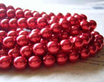Red Pearl Beads 8mm Round Druk Smooth Czech Glass 20 Beads