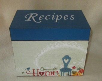 Recipe Box, Personalized Wooden Recipe Box - Decoupaged -  Homemade by - Shower Gift - Wedding Gift - READY TO SHIP