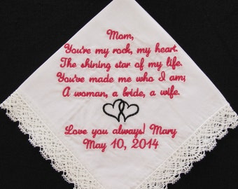 Wedding handkerchief embroidered for the mother of the bride.
