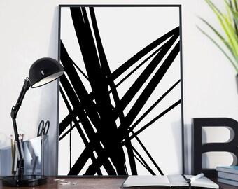 Printable abstract art, instant download art, black and white art, Scandinavian Print, Minimal print, large wall art, minimal printable art