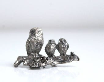 Pewter Owls, Owl Figurine, Owl Family, Pewter Owl Figurine, Silver Owl Figurine, Pewter Figurine, Miniature Owl, Owls, Owl Collectible