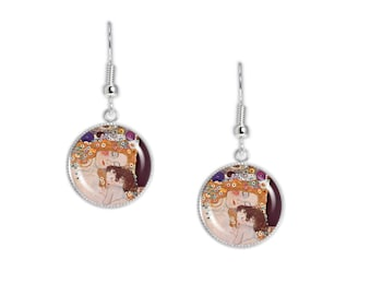 "Mother & Child From Three Ages of Woman Klimt Painting Dangle Earrings 3/4"" Art Print Charms Silver Tone * FREE Shipping in USA *"