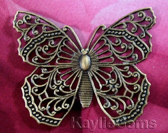 1 Exquisite Butterfly Filigree Stamping Victorian Style Oxidized Antique Brass USA