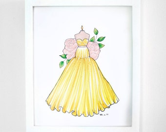 Fashion Illustration- Yellow Gold Evening Gown- Retro Fashion- Original Marker Drawing PRICE REDUCED was 95