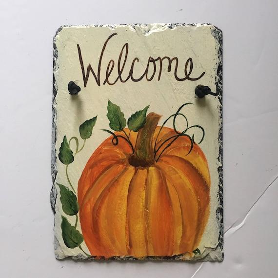 Fall welcome sign, Pumpkin Slate Door hanger, Autumn door decor, Fall door decoration, Painted slate, Thanksgiving door decor