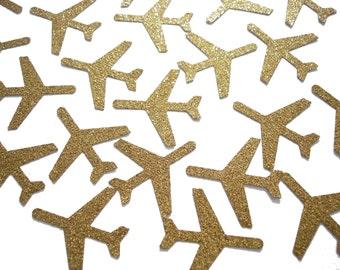 """Glitter Gold Airplane Confetti 25CT, Airplane Birthday Party Decoration, Plane Confetti, Gold Decor - 1.5"""" airplanes - No541"""