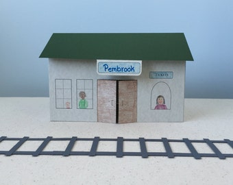3D Paper Train Station Template: Instant Download
