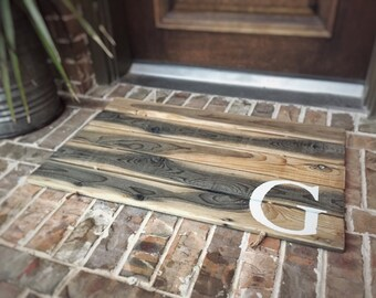 Doormat, Wood, Monogram, Custom, Distressed Finishes: AGED NATURAL SHOWN