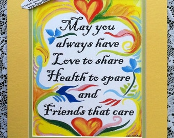 May You Always Have LOVE HEALTH FRIENDS 11x14 Inspirational Quote Motivational Print Blessing Home Decor Heartful Art by Raphaella Vaisseau
