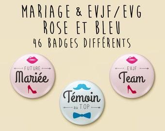 Badge wedding pink & blue - individually