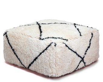Moroccan Pouf, Floor Cushion, Beni Ourain Pouf Ottoman, Floor Pillow, Foot Stool, Refashioned from a New Moroccan Rug.  PNJ003