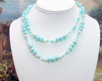 Pale Blue Swarovski Pearl and Crystal Necklace