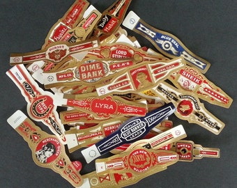 53 Different Original Unused Vintage Cigar Bands a Very Nice Group of Artwork