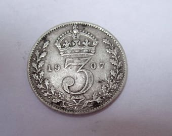 King George V Three Pence Pieces - 3 pence piece, Collectable Coins, Silver Coins, Sterling Silver Coins. 1907 - 1920.