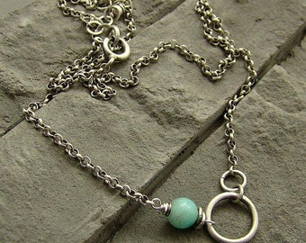 Sterling silver, amazonite - simple necklace/oxidized silver