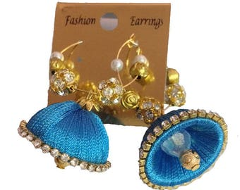 Gunu Multi Colour Silk Thread Jhumki Earrings for Women