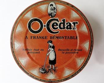 Old tin box O-CEDAR Mop orange original illustrated 1940s Art Deco french vintage