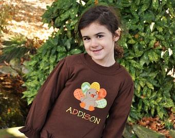 Girls Turkey Shirt - Personalized Turkey Shirt - Girls Ruffle Shirt - Girls Thanksgiving Shirt - Cute Turkey - Ruffle Turkey Shirt - Long