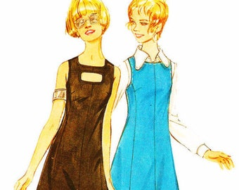 Butterick 5816 Retro 1960s Keyhole Front Dress or Jumper and Blouse Sewing Pattern
