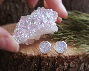 Snow druzy earrings, white angel quartz earrings, druzy studs, white angel quartz studs, white druzy colorful studs, white earrings