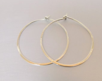 Big Hoop Sterling Silver 925 Earrings 35mm Thin Minimalist