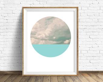 "nature photography, large art, large wall art, printable art, instant download printable art, landscape prints, art - ""Cloudscape and Aqua"""