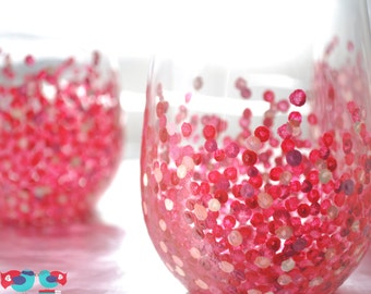 Spotted Wine Glasses - Custom Hand Painted Glassware