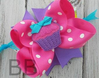 Cupcake Spikey Hair Bow, Layered Birthday Hair Bow, Pink and purple Birthday Bow, Sweet Treat Hair Bow