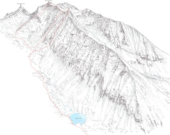 Mount Wilson (14ers), line illustration showing the Navajo Basin approachs.